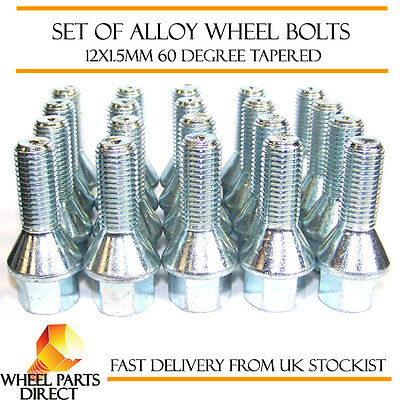 Alloy Wheel Bolts (20) 12x1.5 Nuts Tapered for Renault Clio [Mk2] 98-12