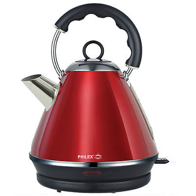 Philex 1.7L Stainless Steel Cordless Electric Automatic kettle Red