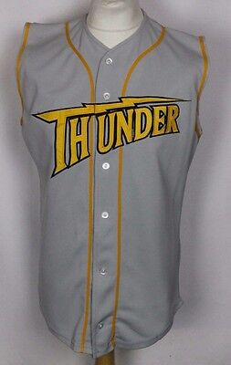 #57 Vintage Thunder Sleeveless Baseball Jersey Shirt Mens Small Grey