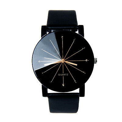 New Men's Casual Watch Stainless Steel Leather Analog Dial Quartz Wrist Watch
