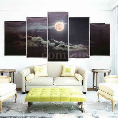 Canvas Prints Moon Night Clouds Wall Art Split Picture Unframed Home Decor Hot