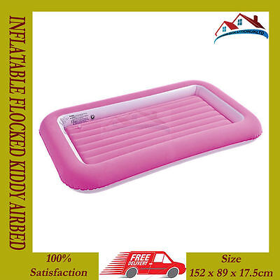 Kids Childrens Inflatable Safety Flocked Kiddy Air Bed Toddlers Camping Pink