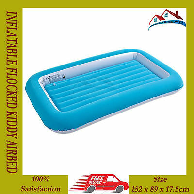 Kids Childrens Inflatable Safety Flocked Kiddy Air Bed Toddlers Camping Blue