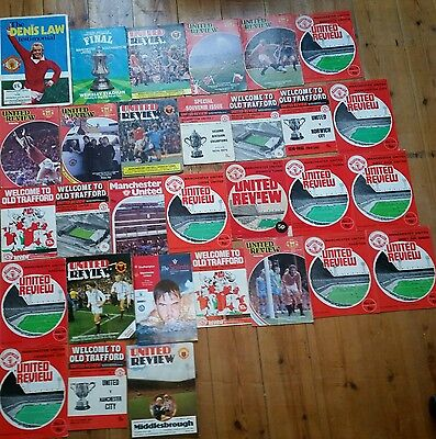 X30 Manchester United Football programmes 1970s & 1980s inc Testimonial & Final