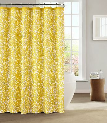 Kensie Spring Yellow White Decorative Modern Chic Fabric Shower Curtain
