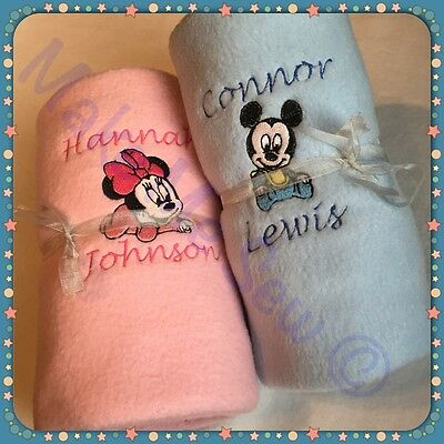 PERSONALISED BABY MICKEY MINNIE MOUSE BLANKET - Newborn, christening gift+NAME