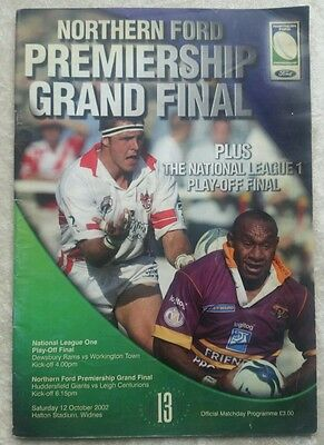 Northern Ford premiership grand final 12/10/02 Rugby league programme