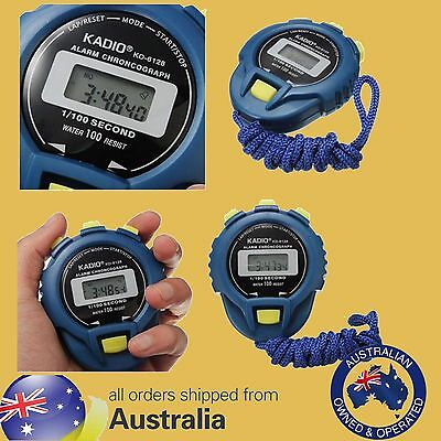 LCD KADIO Digital Stopwatch Timer Stop Watch Clock Alarm + BATTERY & Strap