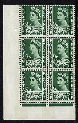 GB 1967 Wales 9d Bronze-Green Cylinder 1 No Dot XW13 = SGW4 Unmounted Mint