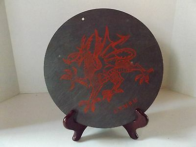 Welsh Round Dragon Slate Plate