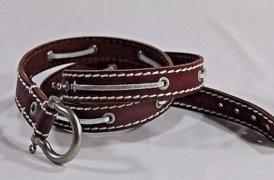 """NAUTICA 1"""" wide BELT L 38"""" BROWN Leather Silver Lacing White Topstitching"""