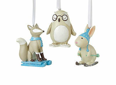3 x Woodland Animal Baubles Owl Rabbit Fox Christmas Tree Hanging Decorations
