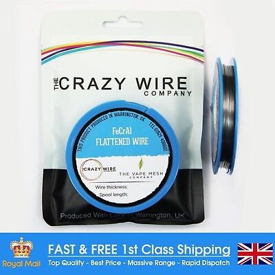 22 AWG (0.81mm x 0.4mm) - Kanthal A1 Flat Wire - 4.39 ohms/m - 10 Metre Spool