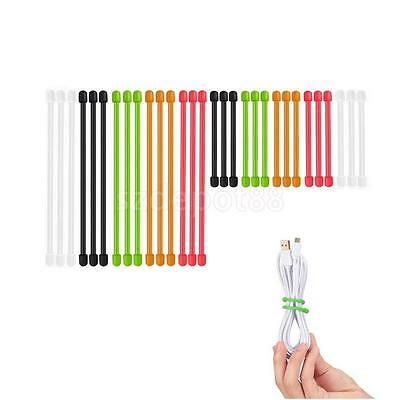 Reusable Gear Tie, 3-15 Inch Rubber Twist Tie Black Orange Green Red Pack of 10