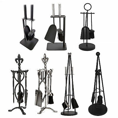 Companion Set Black Fireplace Fireside Fire Cast Iron Brush Shovel Poker Set