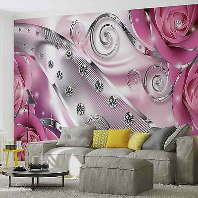 WALL MURAL Pink Floral Diamond Abstract Modern XXL PHOTO WALLPAPER (2494DC)