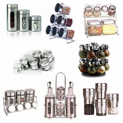 Glass Jars Kitchen Herbs Spice Stainless Steel Stand Rack Revolving Canister