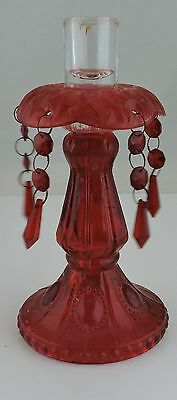 Antique  Vintage Red Glass Victorian Style Candlestick/holder W/ Prisms