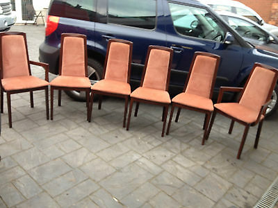 Morris of Glasgow Set of 5 Mahogany Dining Chairs Pink Velour