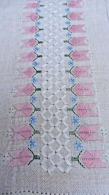 Swedish linen table runner with pink embroidered flowers