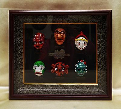 Estate Found Vintage Korean Masks Collection in Decorative Shadow Box Frame