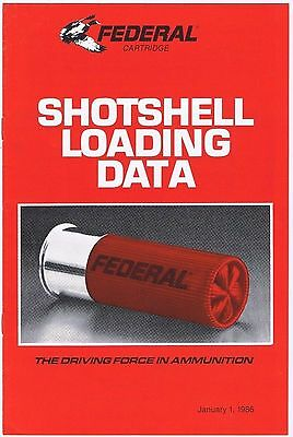 Federal Cartridge Shotshell Loading Data 1986 4 pages