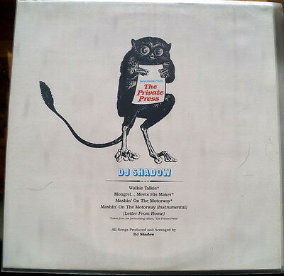 """DJ Shadow """"Selections From The Private Press"""" RARE 2002 UK Promo 12"""""""