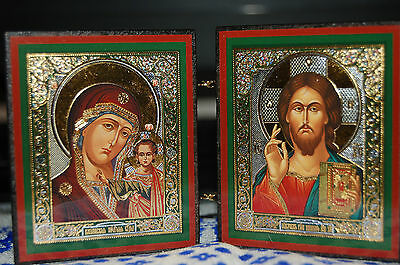 Orthodox foldable wooden icon Jesus Christ and Kazan Icon of the Mother of God