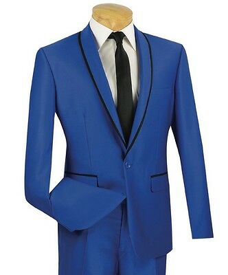 Men's Royal Blue One Button Slim-Fit Sharkskin Tuxedo Suit w/ Trim NEW