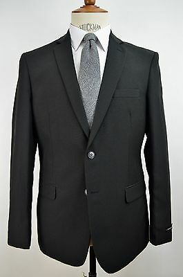 Men's Black 2 Button Classic Fit Polyester Suit NEW