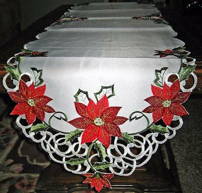 Red Poinsettia Silky White Lacy Embroidered Christmas Decor Holiday Table Runner