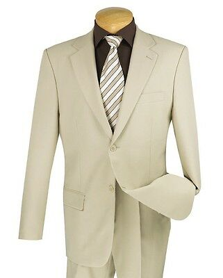 Men's Beige 2 Button Classic Fit Polyester Suit NEW