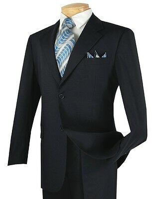 Men's Navy Blue 2 Button Classic Fit Polyester Suit NEW