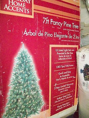 7 Ft  Artificial Fancy Pine Christmas Tree 650 Clear Mini Lights 1382 Tips