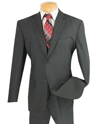 Men's Charcoal 2 Button Classic Fit Polyester Suit NEW