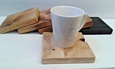Handmade Wooden Coasters - EXTRA LARGE (14cm) - Distressed Coffee Tea Drink Mat