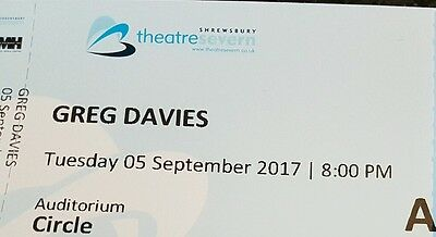 2x tickets GREG DAVIES You Magnificent Beast SHREWSBURY Theatre Severn SOLD OUT