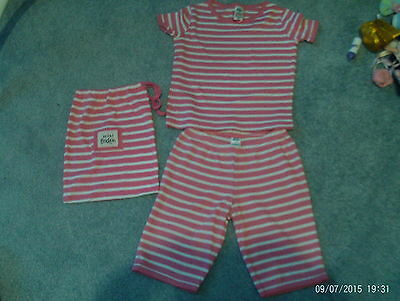 Girls T shirt pants outfit + bag - pink/white stripe - age 6 years - mini Boden