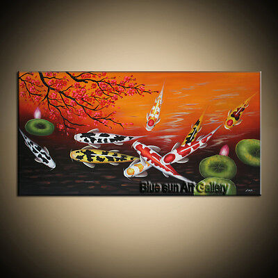Large MODERN ABSTRACT OIL PAINTING Feng Shui Fish Koi Canvas wall Art Framed F01