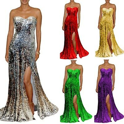 Jessica Red Sequin Christmas Women Evening High Slit Party Prom Dress Long Ball
