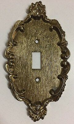 Vintage Brass Gold Art Deco Ornate Decorative Single Light Switch Cover Plate