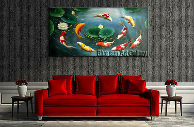 Large MODERN ABSTRACT OIL PAINTING Feng Shui Fish Koi Canvas wall Art Framed B16