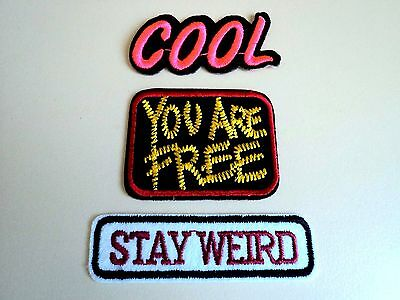 3x Cool Weird Hippie Punk Embroidered Cloth Patches Applique Badge Iron Sew On
