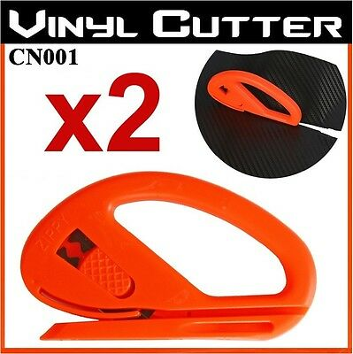 2 x Safety Cutter Vinyl Car Wrap Paper Cutting Carbon Fibre Tool With Blade