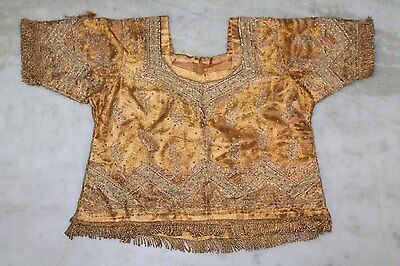 """Vintage Traditional Zardozi Sequins Hand Embroidery Indian Wedding Blouse/top L"""""""