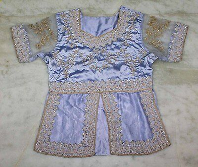 """Amazing Traditional Beaded Sequins Hand Embroidery Indian Wedding Blouse/top L"""""""