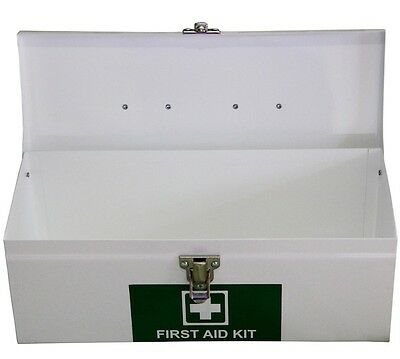 Empty Portable Metal First Aid Box in White