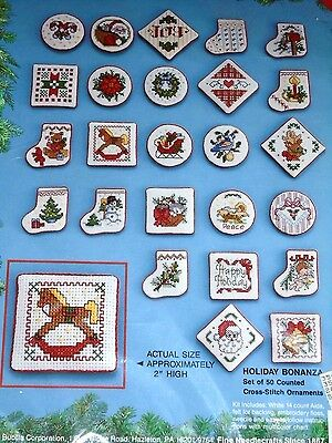 Bucilla Holiday Bonanza 50 Counted Cross Stitch Kit Christmas Tree Ornaments