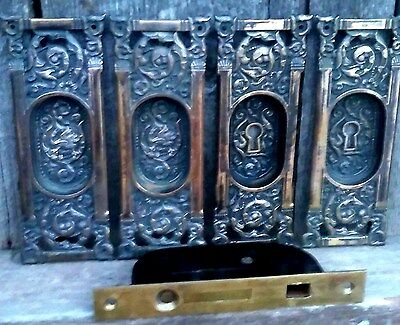 Antique Matching Set of 4 Ornate Bronze/Brass Pocket Door Pulls & Mortise Lock