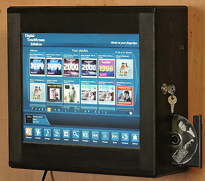 Digital Touchscreen Jukebox Wall Mounted with Airplay or Bluetooth connectivity.